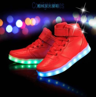 Sports Shoes LED Sneakers Luminous Sneakers Shoes for Girls Boys Kids Red - intl