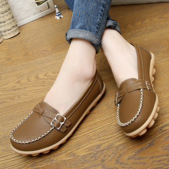 Spring and flat female Plus-sized peas shoes Shoes (Khaki color (twill models))
