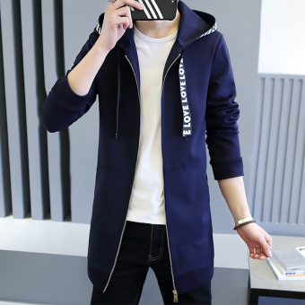 Spring New style casual hooded jacket (Dark blue color)