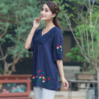 Stitching cotton linen embroidered porous Plus-sized round neck versatile T-shirt half sleeved (Dark blue color) (Dark blue color)