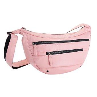 Stylish Casual Zipper PU Shoulder Bag Messenger Cross-body Bags (Pink) - picture 2