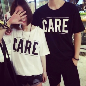 Summer Fashion New Simple Loose All-Match Leisure Couples Dress Black Color T-shirt Short Sleeved - Intl