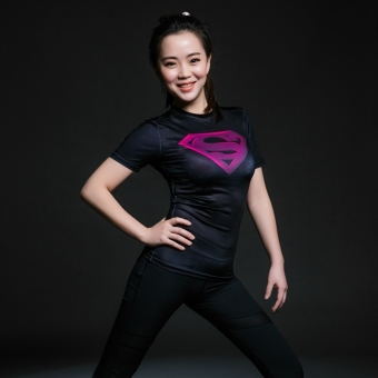 Superman 3D short sleeved yoga T-shirt shirt quick-drying fitness clothing slim fit clothing