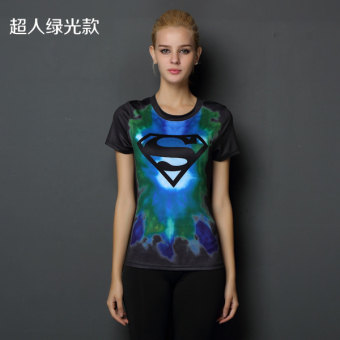 Superman beauty yoga running T-shirt fitness clothing (Superman green models)