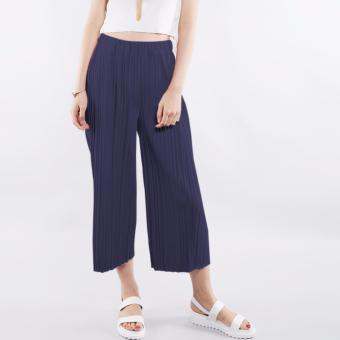 T69 Pleated Design Elasticated Culottes Pants (Navy Blue)