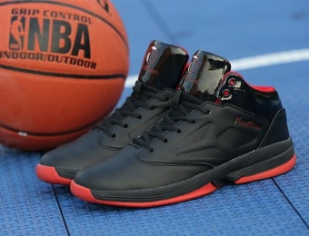 The Red Men's Basketball Shoes Damping Breathable Cement High BootsMen's Athletic Shoes to Help Students Black - intl