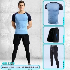 PHP 2.188. Three Piece Set Mens Outdoor Sport Clothing 6 Colors Fitness Sportswear-Short Sleeve Fitness Set Men's ...