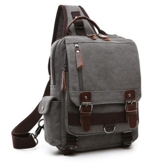 Tourya Canvas Crossbody Bags for Men&Female Messenger Chest Bag Pack Sling Bag Large Capacity Handbag Single Shoulder Strap Pack(Grey) - intl