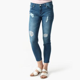 True Love Distressed Mid-Rise Skinny Jeans (Denim)