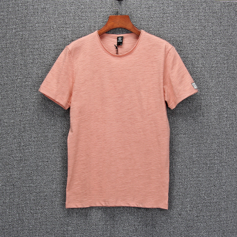 Tx888 Korean-style men round neck summer base shirt T-shirt (Pink)