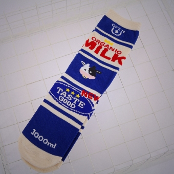 Ulzzang cotton milk box lettered Tube Long socks (Blue milk)