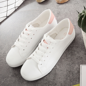 Ulzzang Korean-style leather female lace shoes BayMini shoes (White pink)