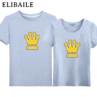 Ulzzang Korean-style style student couple's short sleeved Top T-shirt (Gray)