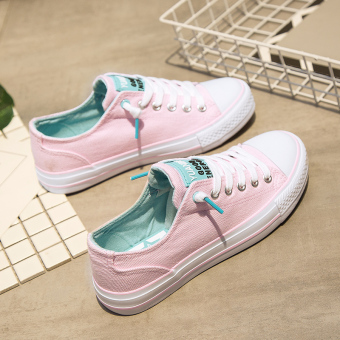 Versatile female New style student's shoes summer canvas shoes (Pink) (Pink)