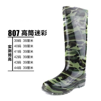 Warrior gum outsole genuine male models wear and rubber boots (807 camouflage high-top)
