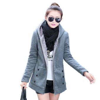Winter Warm Women's Fleece Hooded Jacket Top Hoodie Coat Outerwear (Grey)