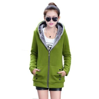 Winter Warm Women's Fleece Hooded Jacket Top Hoodie Coat Outerwear(Green)