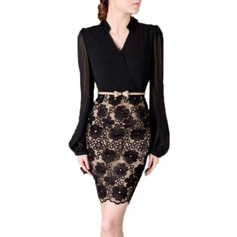 Women Bodycon Lace Business OL Office Dress(Black) - Intl