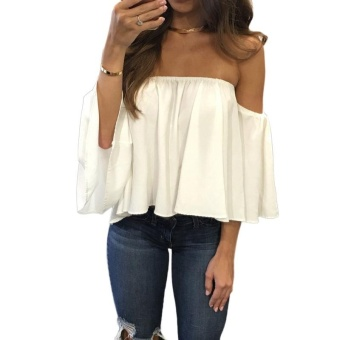 Women Chiffon Blouse Solid Slash Neck Off Shoulder Slare Sleeve Loose Sexy Tops White - intl