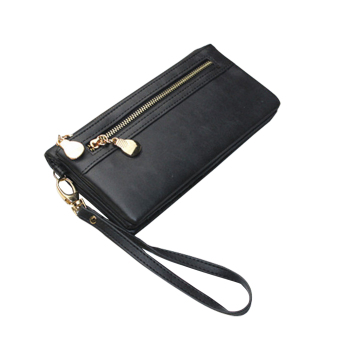 Women Clutch Bag Long Wallet Handbag Double Zipper Clutch Purse(Black) - intl