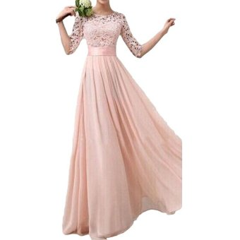 Women Dress Lace Chiffon Half Sleeve Slim Maxi Long Gown Elegant Princess Evening Party One-Piece - intl