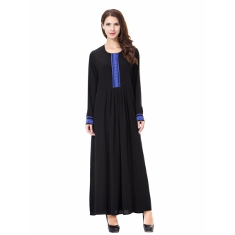 Women Ethnic Pure Color Muslim Islamic Long Sleeve Maxi Dress Arab Jilbab Abaya Cloth(Blue) - intl