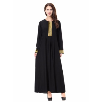Women Ethnic Pure Color Muslim Islamic Long Sleeve Maxi Dress Arab Jilbab Abaya Cloth(Gold) - intl