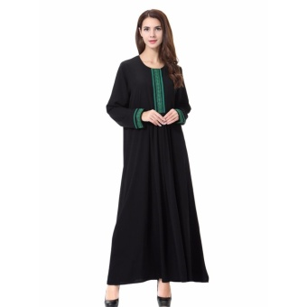 Women Ethnic Pure Color Muslim Islamic Long Sleeve Maxi Dress Arab Jilbab Abaya Cloth(Green) - intl