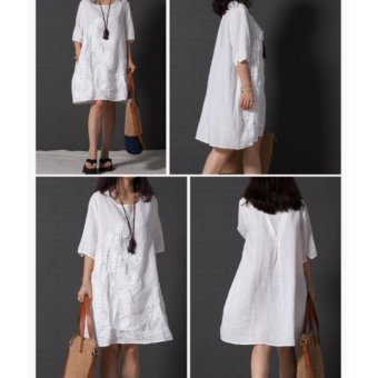 Women Fashion Embroidered Long Sleeved Cotton Linen Dress Lace ALine Plus Size Dress - intl