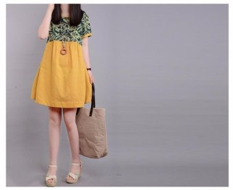 Women Loose Casual Short Sleeve Cotton Linen A-line Mini Dress yellow