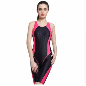 Women Neck to Knee Competition Swimsuit Racing Suit One Piece Bathing suits One-piece Swimwear Girls Sport Swimsuits-Rose - intl