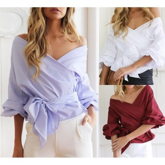 Women Off Shoulder Shirts Long Sleeve Clothe V-neck Slim Blouse(White) - intl