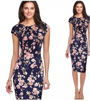 Women OL Elegant Floral Bodycon Pencil Slim Dress Pink Flower -intl