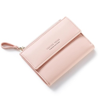 Women Wallet Pu Leather Mini Coin Purses Small Zipper Short Wallets ID Credit Card Holders Fashion Cute Girls Purse Pink - intl