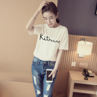 Women's Korean-style Simple Short Sleeve T-Shirt (White [865 models])