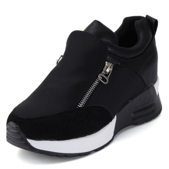 Women's Sneakers Zip Wedge Hidden Heel Sport Shoes