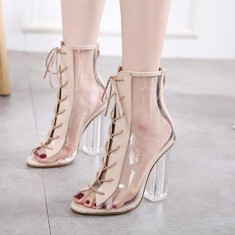 Women's Square Heel Sandals European Party High Heels with Checkered Apricot - intl