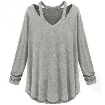 Womens Fashion Off Shoulder Long Sleeve V-Neck Loose Blouse Gray -