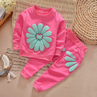 YBC Spring Girls 2pcs Sunflowers Clothes Set Long Sleeved Shirt +Pants Rose Red