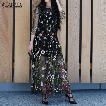 ZANZEA Women 2017 Summer Dress Sexy Vintage Embroidery Floral Mesh Patchwork Maxi Long Dresses Casual Vestidos Hot Sale (Black) - intl