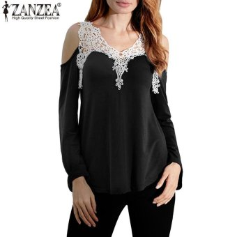 ZANZEA Women Casual Long Sleeve Plus Size Tee Tops Off ShoulderV-Neck Shirts Blusas Femininas Lace Patchwork Blouse (Black) - intl