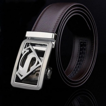 ZH Men's leather belt, leather belt, leather belt automatic beltsuperman fashion trend brown