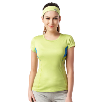 ZOANO thin breathable Slim fit yoga clothes Sports Short sleeved t-shirt (Green lemon green)