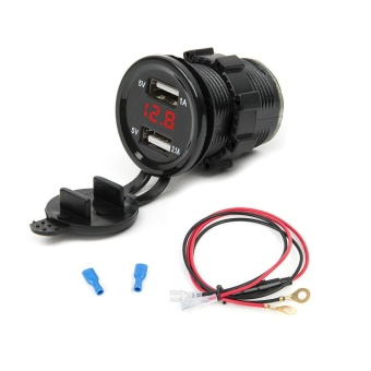 12V Dual USB Car Cigarette Lighter Socket Charger LED Red Light Voltmeter Gauges +Cable - intl
