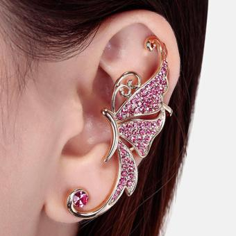 1pc Women's cute korean crystal Butterfly Wings Ear Clip Clamp wrapcuff Earring fashion jewelry FOR LETF EAR ONLY-Pink - intl