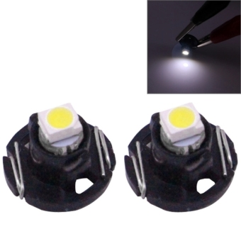 2 PCS T4.2 White Light 0.1W 5LM 1 LED SMD 3528 LED Instrument Light Bulb Dashboard Light For Vehicles, DC 12V - intl