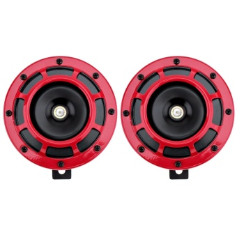 2pcs 12V Red Super Loud Grille Mount Trumpet Compact Electric Blast Dual Tone Horn for Car / Motorcycle - intl