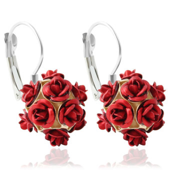 2pcs Flower Stereoscopic Rose earrings red