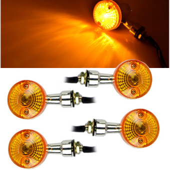 4 x Motorcycle Turn Brake Signal Light Bulb Lamp 12V Amber Indicators Chrome HOT