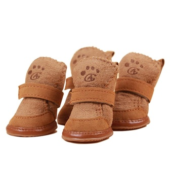 4pcs/set Pet Dog Cotton Shoes Waterproof Warm Winter Dog Shoes -Coffee XS - intl